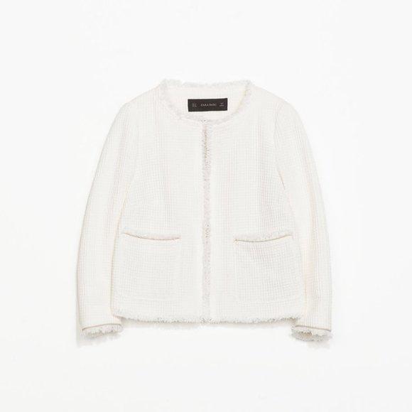 Zara Open Front Textured Blazer Overpiece